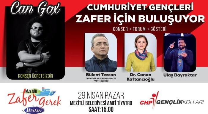 CUMHURİYET GENÇLERİ ZAFER İÇİN MERSİN'DE BULUŞUYOR.