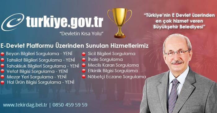 Tekirdağ Büyükşehir Belediyesi E-Devlet Entegrasyonunda Büyükşehirler Arasında 1'inci Sırada!