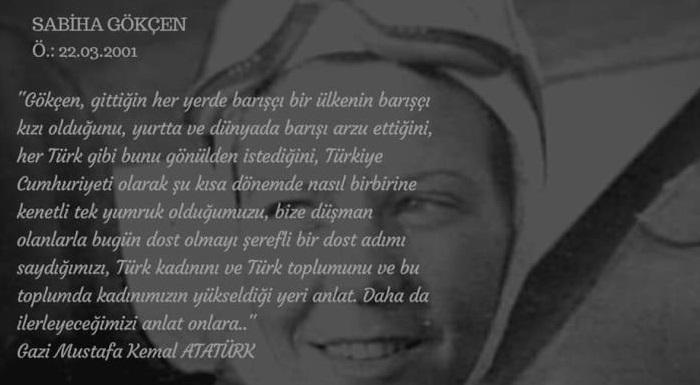Dünyanın ilk kadın savaş pilotu Sabiha Gökçen'i,? ölüm yıl dönümünde saygı ve minnetle anıyoruz.?