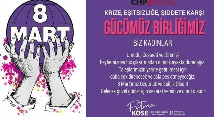 8 Mart'ımız Özgürlük ve Eşitlik Olsun! Gelecek güzel günler için cesaret versin, umut olsun!