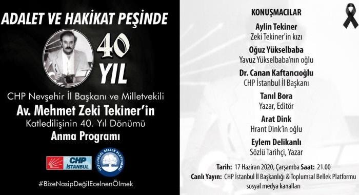 Katledilişinin 40.Yılında Mehmet Zeki Tekiner İçin Anma Programı Gerçekleştirilecek