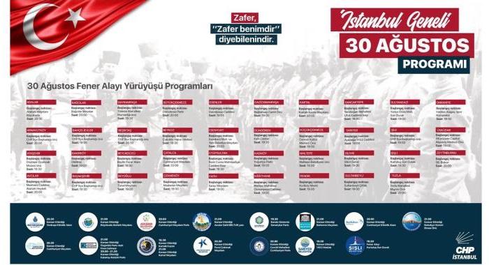 CHP İSTANBUL 30 AĞUSTOS'U TÜM İLÇELERDE COŞKUYLA KUTLAYACAK!