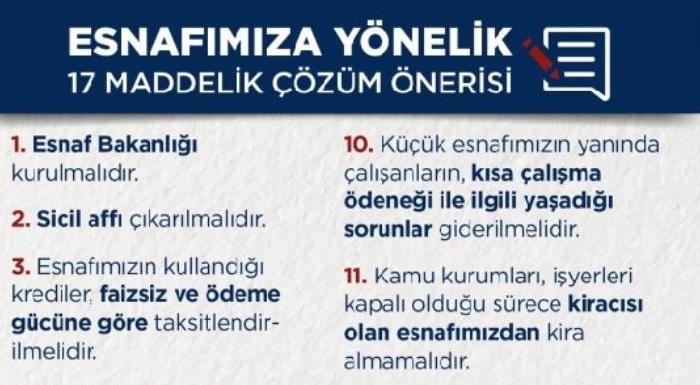 Esnafımıza dağıtmak için hazırladığımız Genel Başkanımız Sayın Kemal Kılıdaroğlu`'nun ESNAFIMIZA YÖNELİK 17 Maddelik Çözüm Önerisi.
